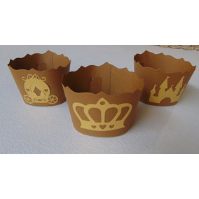 Wrapper/saia Cupcake Personalizada Coroa Castelo Carruagem