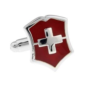 Mancuernillas Escudo Bandera Suiza Acero Gemelos A192