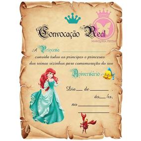 1 Festa Ariel Pequena Sereia Convite Aniversário