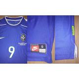 Camisa Seleção Brasileira Azul Ronaldo Copa 1998 Nike Nova