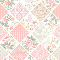 Papel Parede Adesivo Lavavel Patchwork Flores