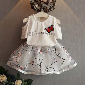Conjunto De Roupas T-shirt + Saia Tutu Vestido