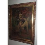 Cuadro Antiguo Bastidor Con Cuñas Pino Oregon Pintura Oleo