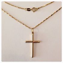 Corrente Ouro Masculina 18k E Pingente Crucifixo Ouro 18k