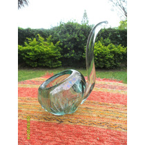 Antiguo Cenicero En Cristal Vidrio Tallado Lindo Diseño Pipa