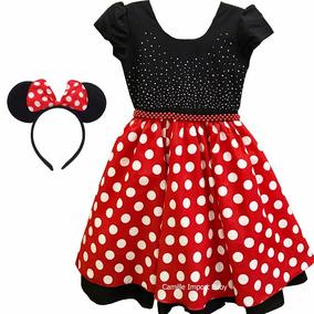 Vestido De Festa Luxo Minnie Vermelho 4 A 16 Anos Com Tiara
