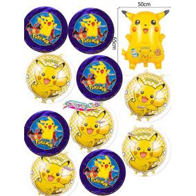 Pkt Pokemon Go Pikachu 11 Globos Helio Envío Gratis Fiesta