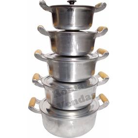 Jogo De Panelas Alumínio Batido Fundido Grossas 5 Peças