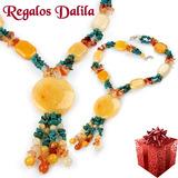 Imponente Collar De Piedras Preciosas Naturales Miralo!!