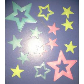 Estrellas Fluorescentes 12/14 Unid Color Planas Y Acanaladas