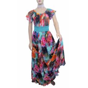 Vestido De Musseline Estampado Com Mangas Curtas