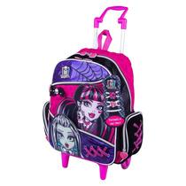 Mochila Infantil Rodinhas Escolar Menina Monster High Tam G