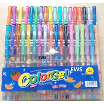 36 Canetas Gel Coloridas Perfumadas Glitter Neon Tons Pastel