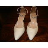 Zapatos Novias N° 37 Blancos. 7cm. Casamiento Cumple 15 Imp