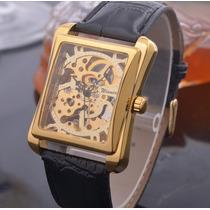 Relógio Masculino Quadrado Automático Skeleton Luxo Dourado