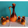Jarra +6 Vasos/tazas De Loza Esmaltada O Similar. Excelente
