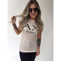 Blusa T-shirt Lurex Estampada Listrada Paris
