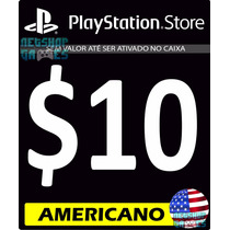 Cartão $10 Dólares Us Psn Americana - Psn Card Americano