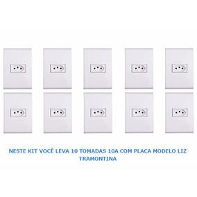 Tomada 10a C/ Placa Branca Modelo Liz Tramontina - Kit C/ 10