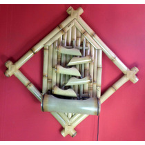 Fonte Agua Decorativa Bambu Parede 5 Bicas Com Iluminação.
