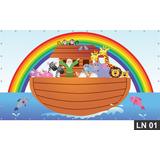 Arca De Noé Painel 1,50x1,00 Lona Festa Aniversário Decoraçã