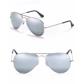 Gafas Ray Ban Plateadas Full Silver Espejo 3025 Medianas