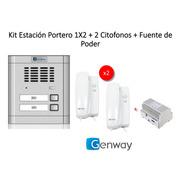 Estacion Portero 1x2  Genway + 2 Citofonos + Fuente De Poder