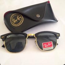Oculos De Sol Clubmaster 3016 Quadrado Retro Preto Verde