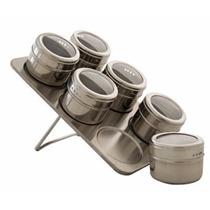 Kit C/ 5 Porta Condimentos Em Aço Inox Com Imã 6 Potes Cada