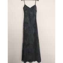 Vestido Largo De Fiesta Tornasol/negro Talla Xs Extrachica