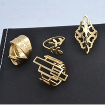 Kit 4 Anéis Folheado Ouro 18k, Kit Semi Joias Luxo Atacado