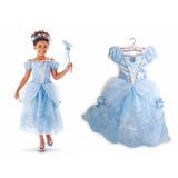 Vestido Fantasia Princesa Cinderela Azul Disney Infantil