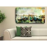 Quadro Para Sala Quarto Barcos Paisagem Praia Veneza 55x100