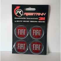 Kit Emblema Fiat Calota E Roda Adesivo Resinado 4 Un. 48mm