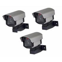 Kit 3 Câmeras Falsas Com Led P/ Segurança Residencial- Cftv