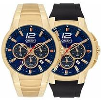Relógio Orient Dourado Troca Pulseira Mostrador Azul +frete