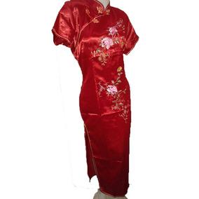 Kimono Largo Con Flores Vestido Chino Fiesta