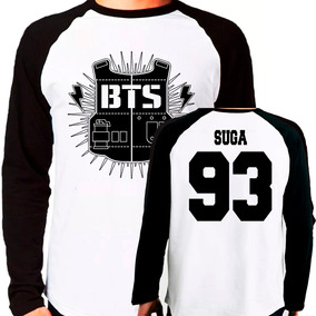 Camiseta Blusa Kpop Bangtan Boys Bts Suga Raglan M. Longa C