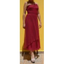 Vestido De Graduacion Color Tinto, Talla M, Remate C/envío