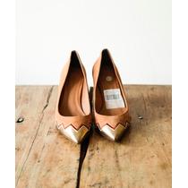 Constance Sapato Lindo Marrom Caramelo E Dourado T 37 Novo