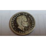 Moneda De 10 Centavos De Colombia Del Año 1913 De Plata