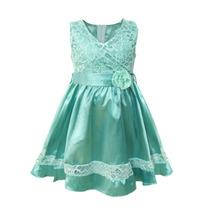 Vestido De Nena De Saten Con Encaje, Brishka N-0040