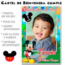 Mickey Minni Cartel De Cumpleaños Bienvenida Con Foto Nombre