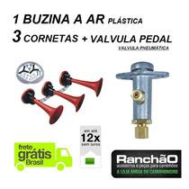 Buzina A Ar 3 Cornetas + Valvula Pneumatica Pedal Caminhão