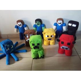 Kit Persongens Minecraft Feltro 9 Bonecos Enfeite Artesanal