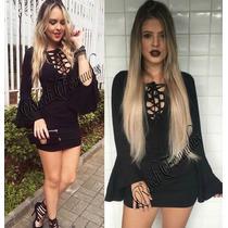 Vestido Feminino Curto Cordão/ilhos Roupas Direto Fabrica