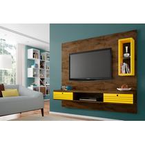 Painel Tv Diamante Cor Madeira Rústica/amarelo