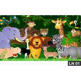 Safari Animais Painel 1,50x1,00m Lona Festa Aniversário