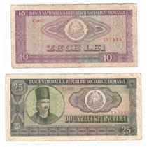 Lote 2 Billetes Rumania 10 Y 25 Lei (1966) Trilladoras