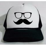 Boné Trucker Tela Americano Mustache Bigode Oculos Oldschool